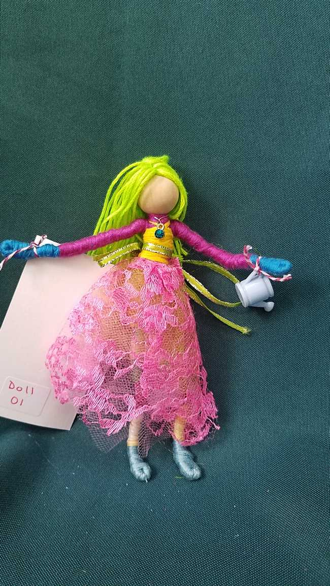 Fairy Doll & Accessories - 11 Piece Set -  Green Hair - Pink Lace Skirt -  6