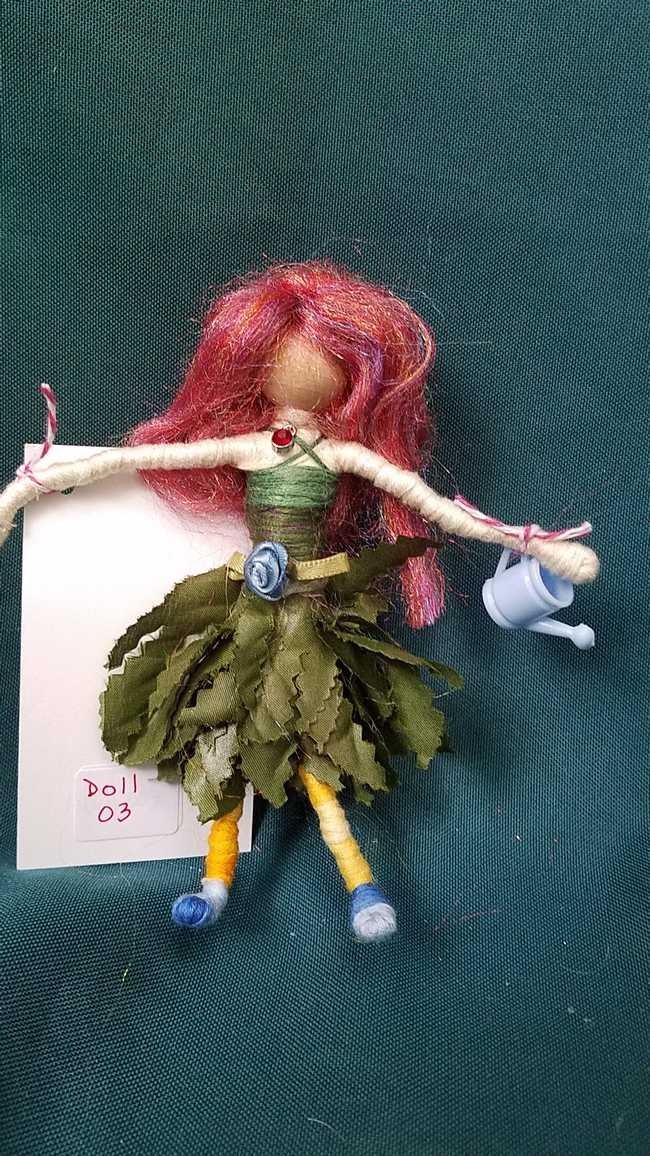 Fairy Doll & Accessories - 11 Piece Set -  Purple Hair - Green Leaf Skirt -  6