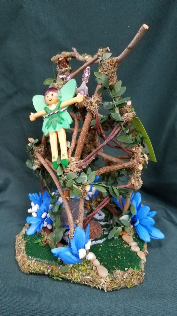 Twig Fairy House -  Blue Flowers - Stone Table - Green Vines - Fairy Garden - Fairy Doll Included - 9
