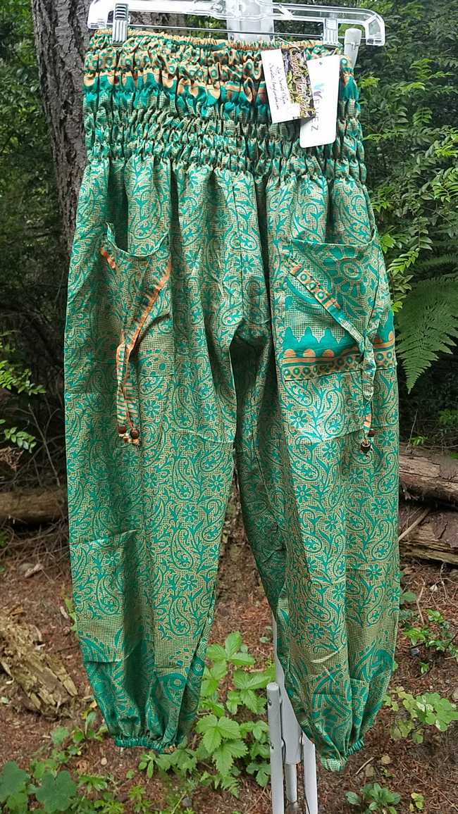 Harem Pants - Green - Silk - Turkish - Belly Dance - Pockets - Elastic Waist - One Size