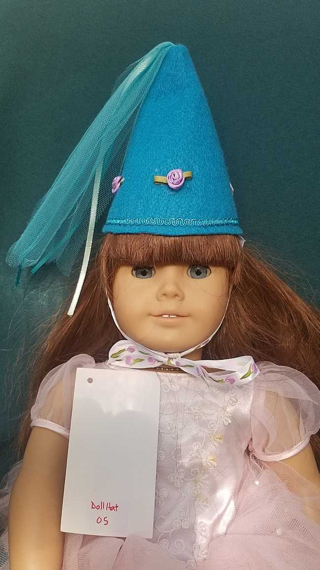 Fairy Princess Doll Hat - Turquoise - Purple Roses - Doll Clothes - Fits 18