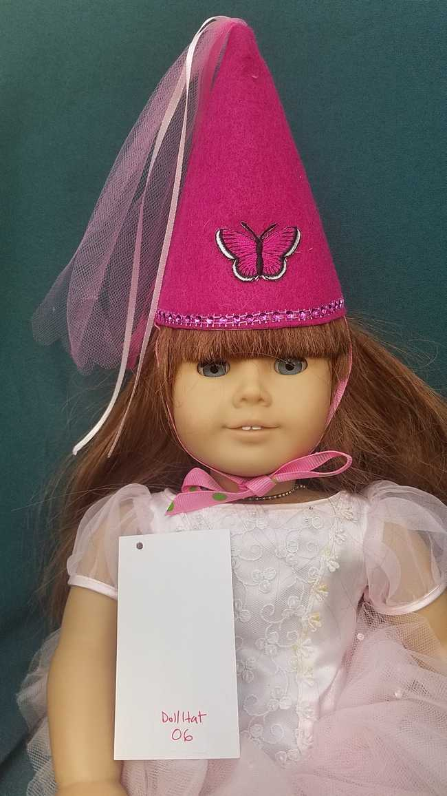 Fairy Princess Doll Hat - Fuchsia - Pink Butterfly - Doll Clothes - Fits 18
