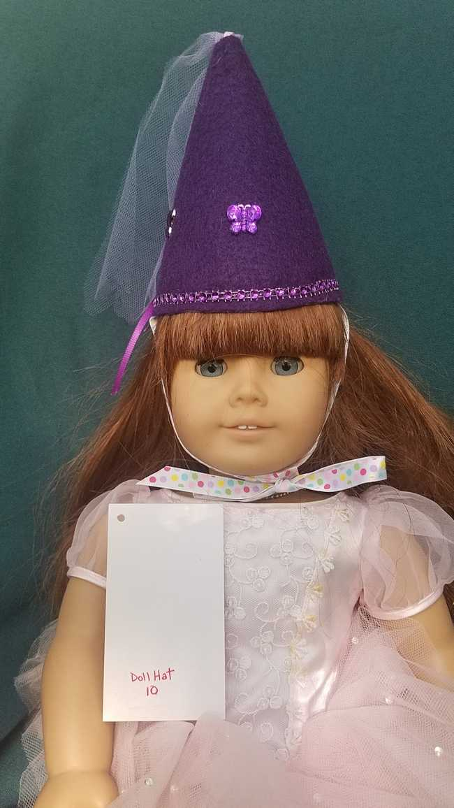 Fairy Princess Doll Hat - Purple - Purple Butterflies - Doll Clothes - Fits 18