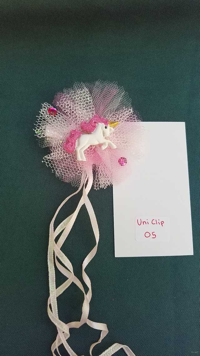 Hair Clip - Tiny Unicorn - Pink Tulle - Pink Ribbons - Pink Gems - Little Girl - Festival - 3