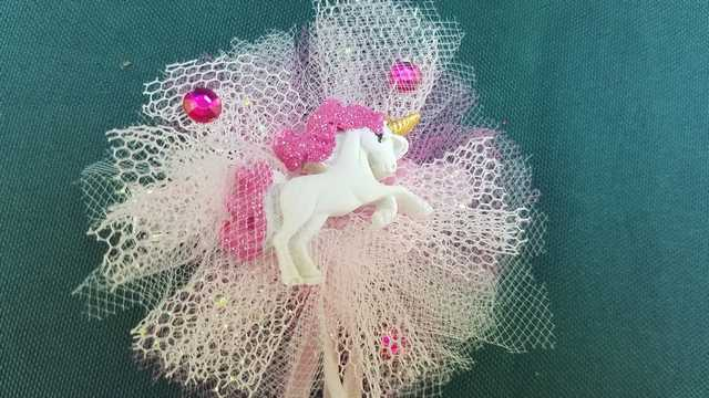 Hair Clip - Tiny Unicorn - Pink Tulle - Pink Ribbons - Pink Gems - Little Girl - Festival - 3'' Wide - Hand Made