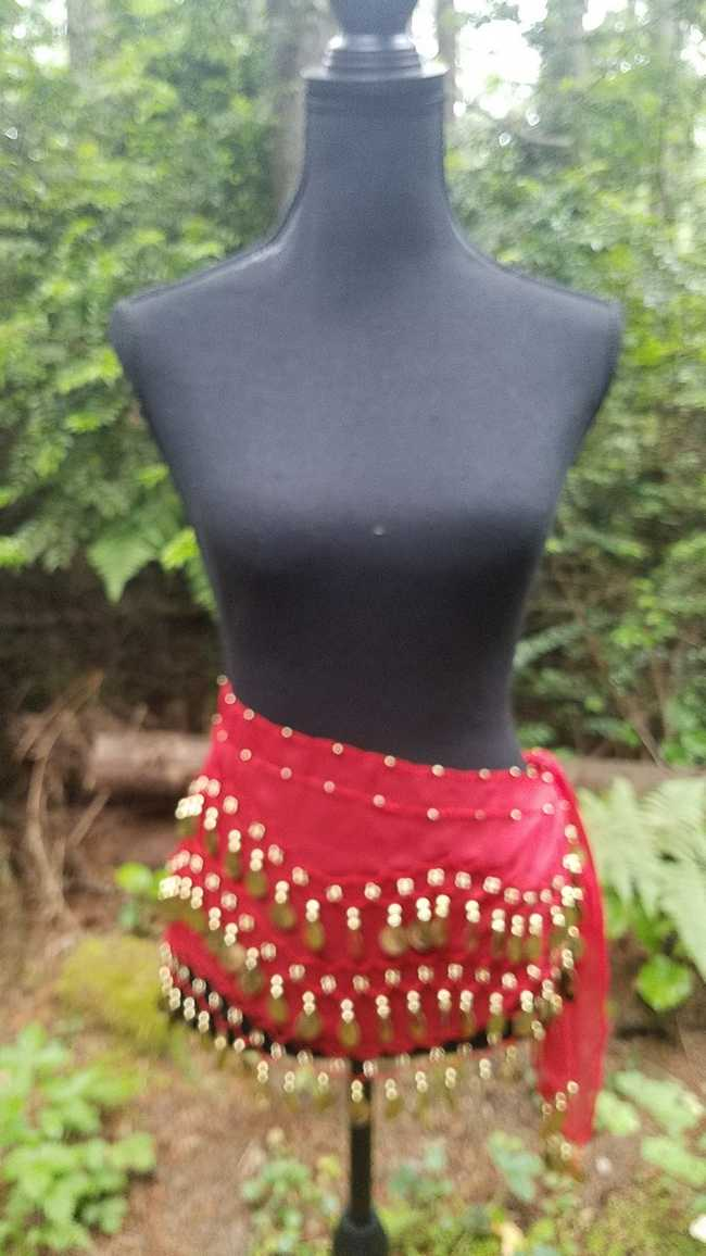 Hip Scarf - Red - 3 Rows Gold Coins - Belly Dance - Costume - 60