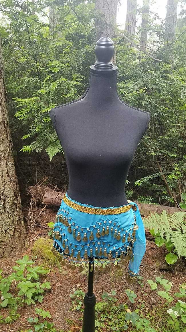 Hip Scarf - Turquoise - 3 Rows Gold Coins - Belly Dance - Costume - 60
