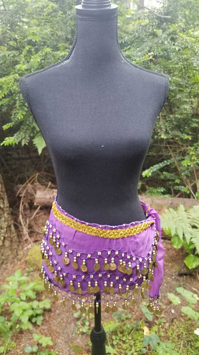 Hip Scarf - Purple - 3 Rows Gold Coins - Belly Dance - Costume - 60