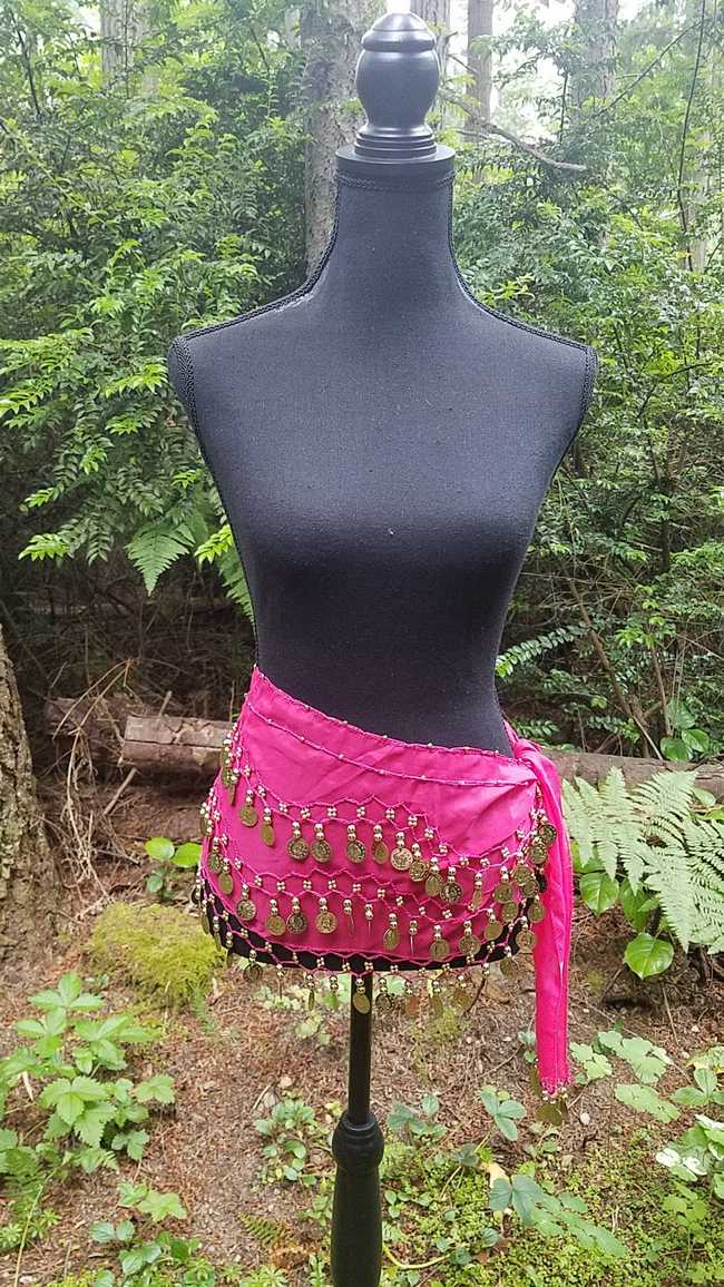 Hip Scarf - Fuchsia - 3 Rows Gold Coins - Belly Dance - Costume - 60