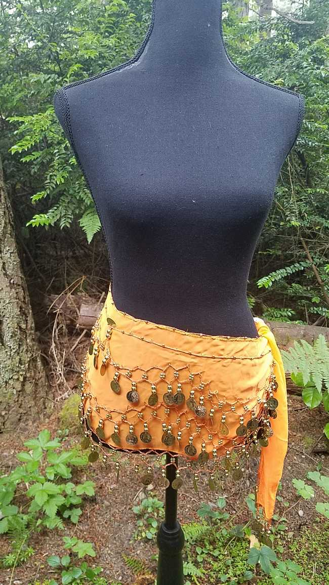 Hip Scarf - Orange - 3 Rows Gold Coins - Belly Dance - Costume - 60