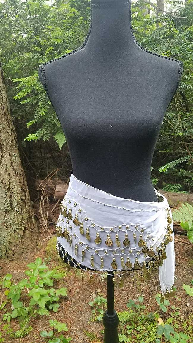 Hip Scarf - White - 3 Rows Gold Coins - Belly Dance - Costume - 60