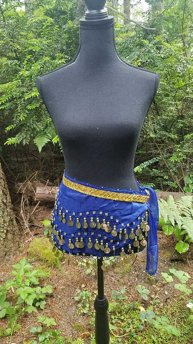 Hip Scarf - Dark Blue - 3 Rows Gold Coins - Belly Dance - Costume - 60