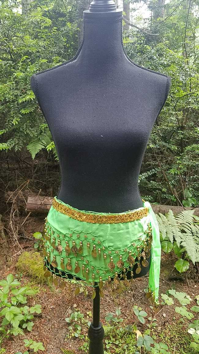 Hip Scarf - Lime Green - 3 Rows Gold Coins - Belly Dance - Costume - 60