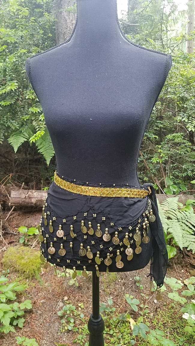 Hip Scarf - Black - 3 Rows Gold Coins - Belly Dance - Costume - 60