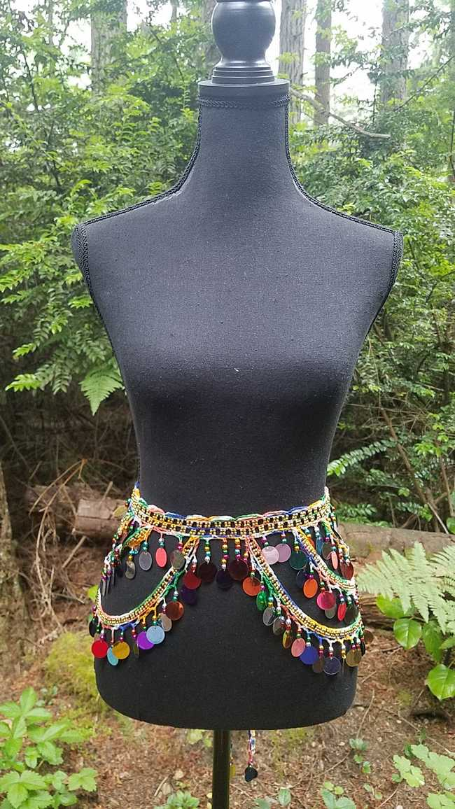 Hip Scarf - Multi Colored Paillettes - Gold Crochet Belt - Belly Dance - Costume - 60