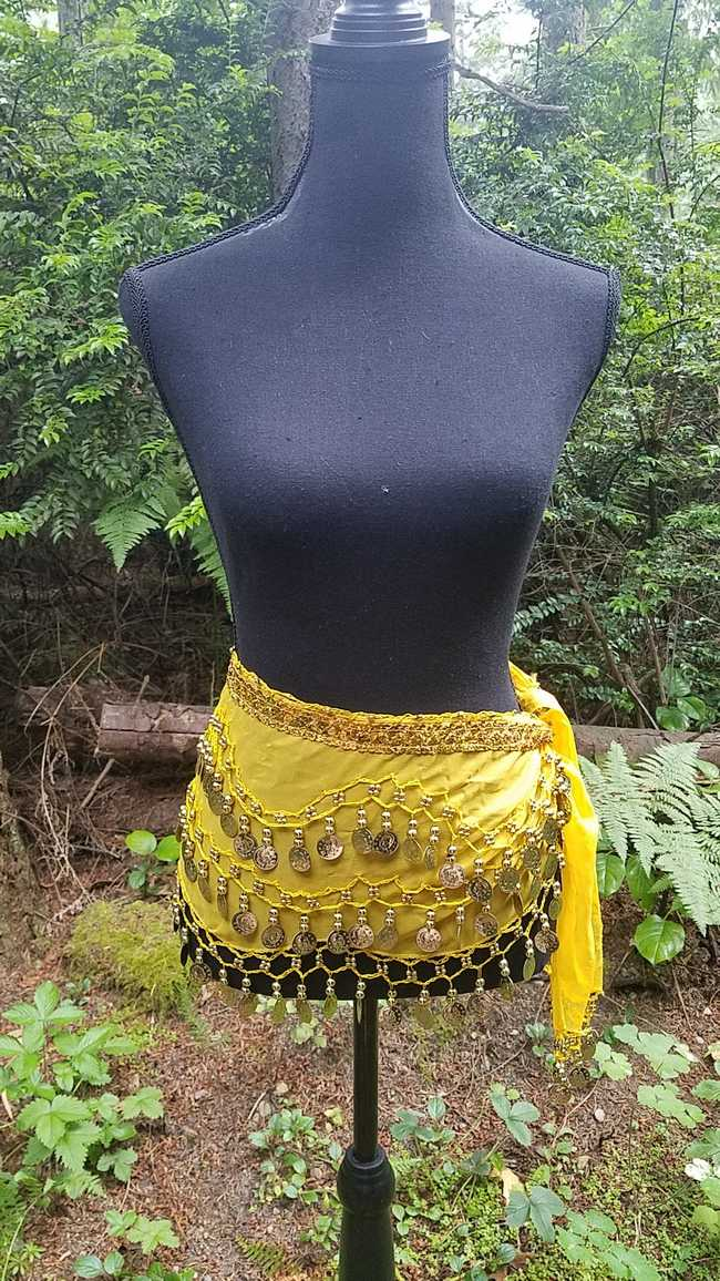 Hip Scarf - Yellow - 3 Rows Gold Coins - Belly Dance - Costume - 60