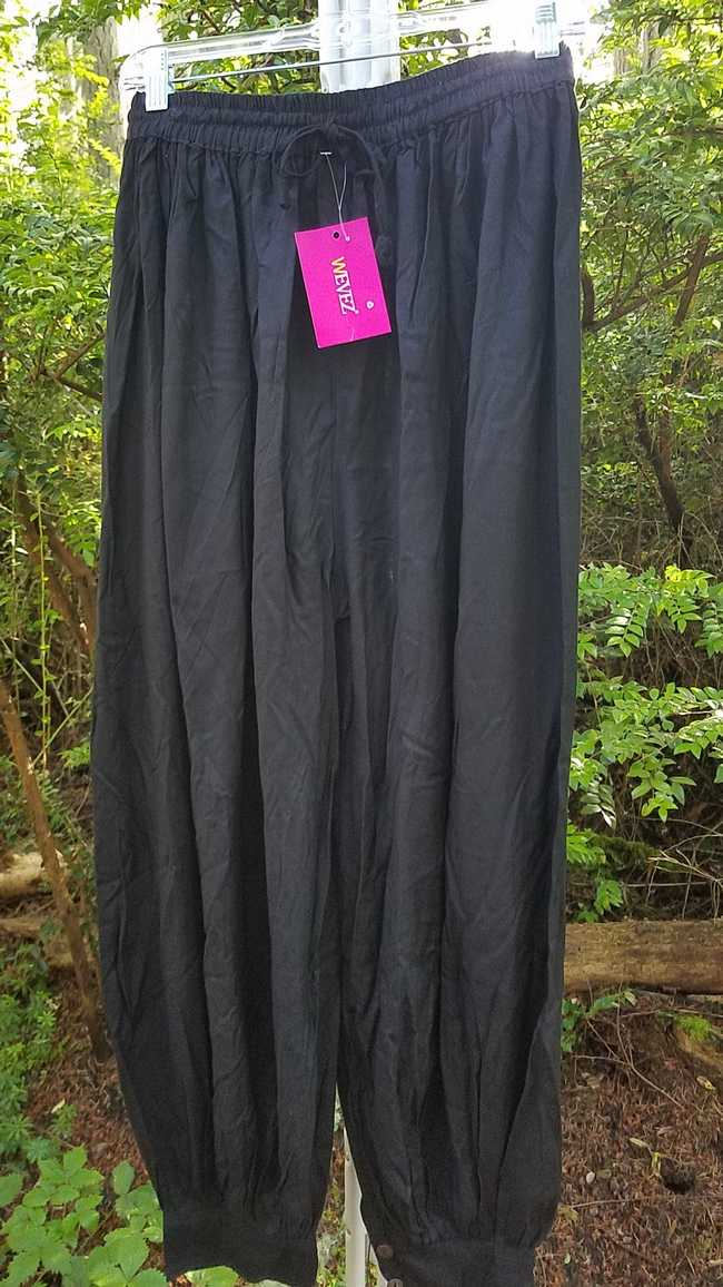 Harem Pants - Adult XL - Plus Size - Black Cotton - Belly Dance - Button Cuffs - Elastic Waist - Wide Legs - One Size