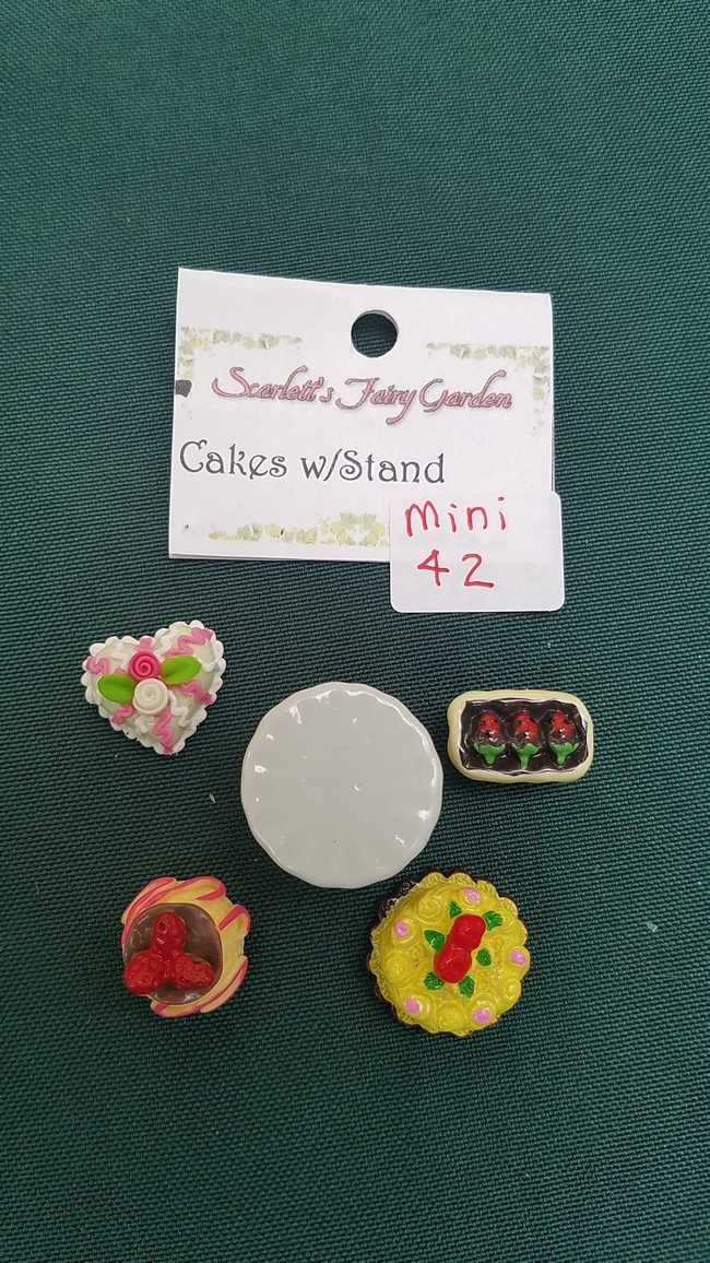 Miniature Food - Assortment - Dessert Set - White Cake Plate - Tiny Cakes - Dollhouse - Fairy - Barbie - 5 piece set