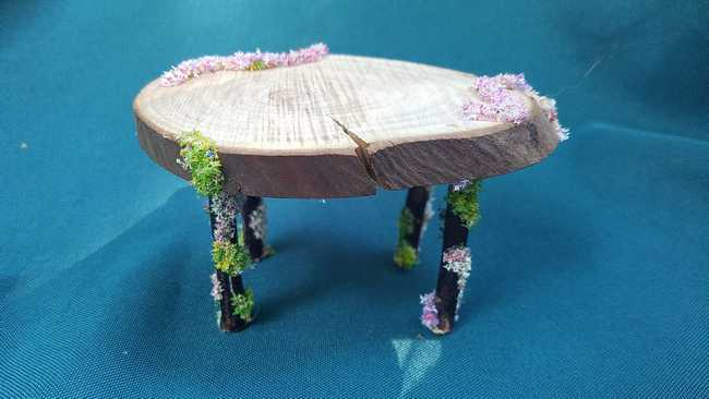 Read more: Miniature Wooden Table - Oval  - Flowers - Fairy Garden -  Dollhouse - Fairy - 2.5'' Tall - Hand Made