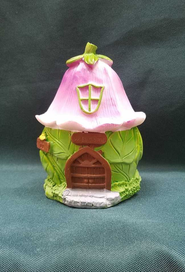 Miniature Resin Fairy House - Green Leaves - Flower Roof - Brown Door - 4