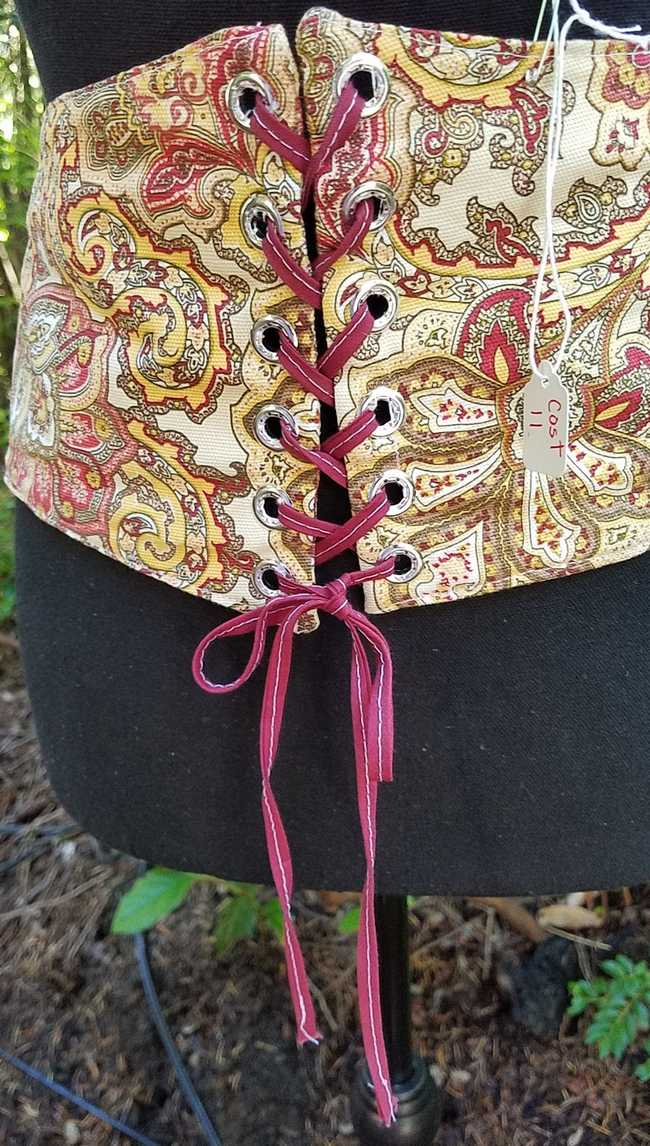 Corset - Waist Cincher - Adult XL - Plus Size - Paisley Brown/Red/Goldenrod Lace Up - Faire - Festival - Hand Made