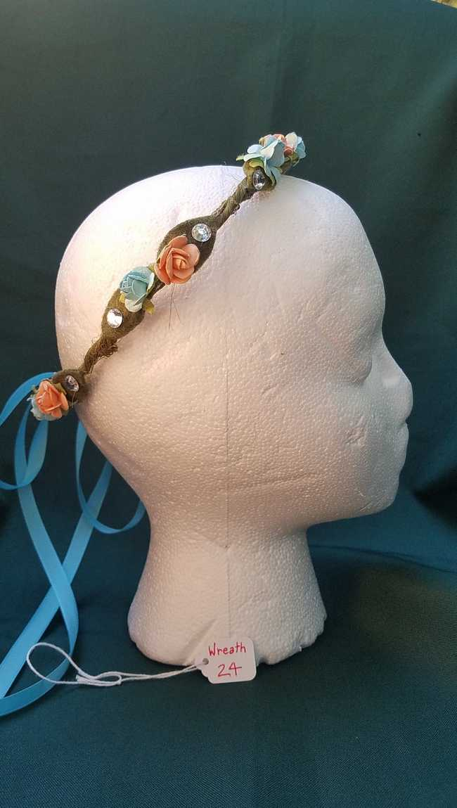 Hair Wreath - Adjustable Size - Fairy - Blue & Peach Flowers - Blue Ribbon - Wedding - Festival - LARP - Hand Made