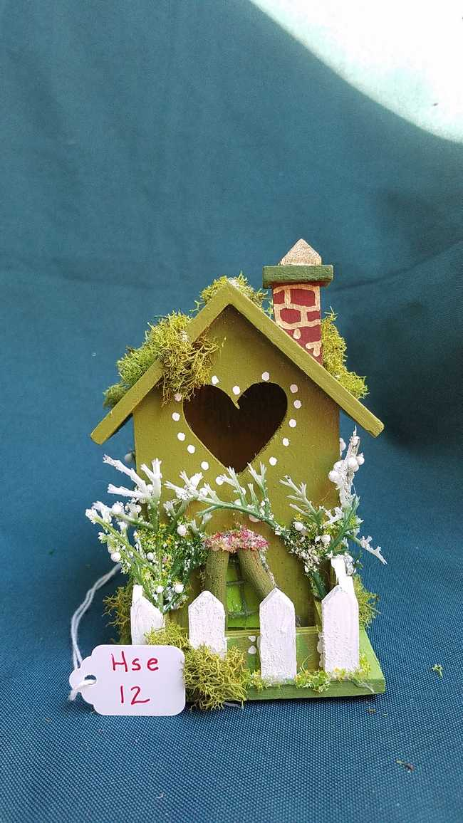 Read more: Miniature Wood Fairy House - Moss Green - Chimney - Picket Fence - Vines -  Fairy Garden - 5'' Tall - Hand Made