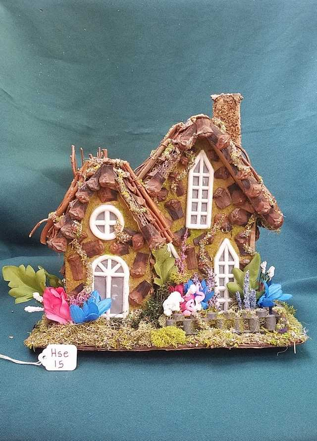 Fairy House - Pink Flamingos - Blue/Pink/White Flowers - Twig Tree - Windows - Chimney - 8.5'' Tall