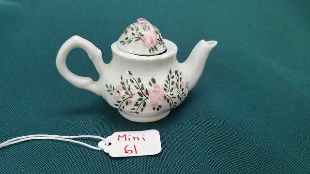 Miniature Teapot - Vintage - White with Green Leaves & Pink Flowers - 2