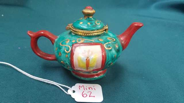 Miniature Teapot - Vintage - Turquoise with Gold Trim - Yellow Butterflies -  Gold Swirls - 2.5