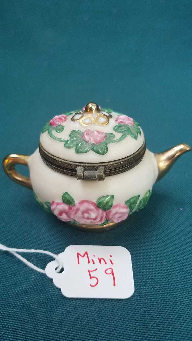 Miniature Teapot - Vintage -  White with Gold Trim - Pink Roses - Green Leaves - Golden Spoon - 2