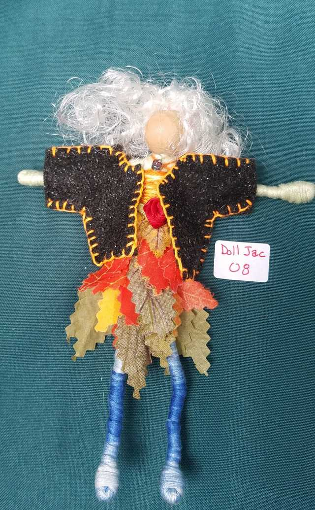 Fairy Doll Jacket - Miniature - Black Felt - Doll Clothes - Hanger Included - 2'' - Hand Made
