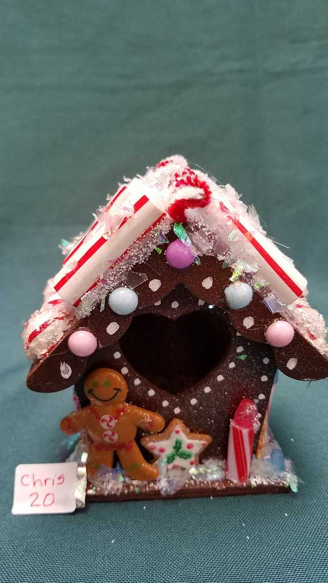 Miniature Gingerbread House - Christmas - Gumdrops - Candy - Wood - 4