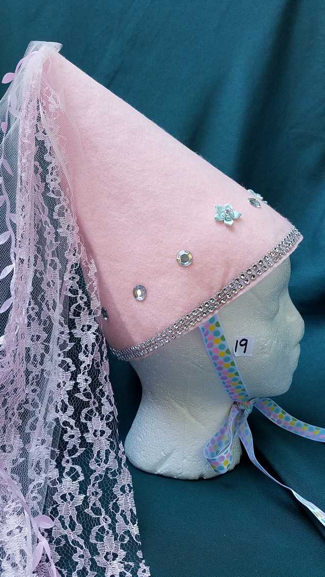 Princess Hat - Light Pink Felt - Veil & Ribbons - Fairy - Costume - 11'' Tall - One Size - Hand Made