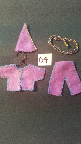 Miniature Fairy Doll Clothes - 5 Piece Set - Purple -  Pants - Shirt  - Small Dolls -  Handmade