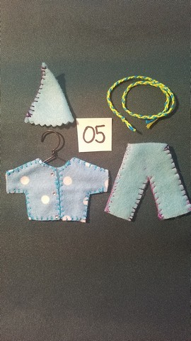 Miniature Fairy Doll Clothes - 5 Piece Set - Blue & White Polka Dots -  Pants - Shirt  - Small Dolls -  Handmade