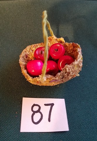 Miniature Apple Basket  with 5 Red Apples - Dried Flowers - Wire Handle - Handmade